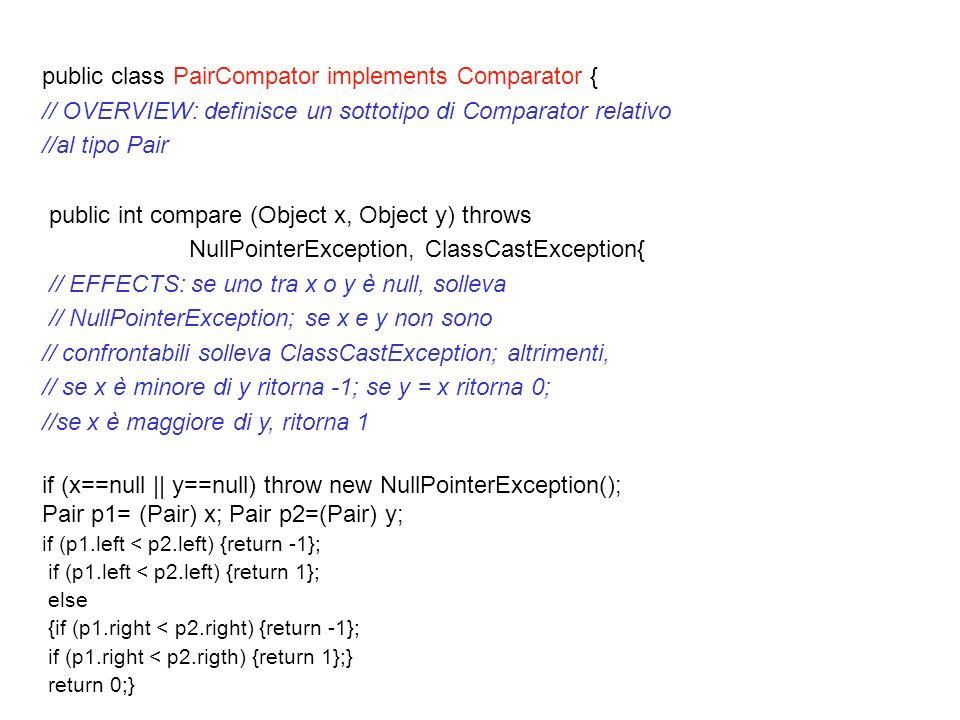 public class PairCompator implements Comparator { // OVERVIEW: definisce un sottotipo di Comparator relativo //al tipo Pair public int compare (Object x, Object y) throws NullPointerException, ClassCastException{ // EFFECTS: se uno tra x o y è null, solleva // NullPointerException; se x e y non sono // confrontabili solleva ClassCastException; altrimenti, // se x è minore di y ritorna -1; se y = x ritorna 0; //se x è maggiore di y, ritorna 1 if (x==null || y==null) throw new NullPointerException(); Pair p1= (Pair) x; Pair p2=(Pair) y; if (p1.left < p2.left) {return -1}; if (p1.left < p2.left) {return 1}; else {if (p1.right < p2.right) {return -1}; if (p1.right < p2.rigth) {return 1};} return 0;} }
