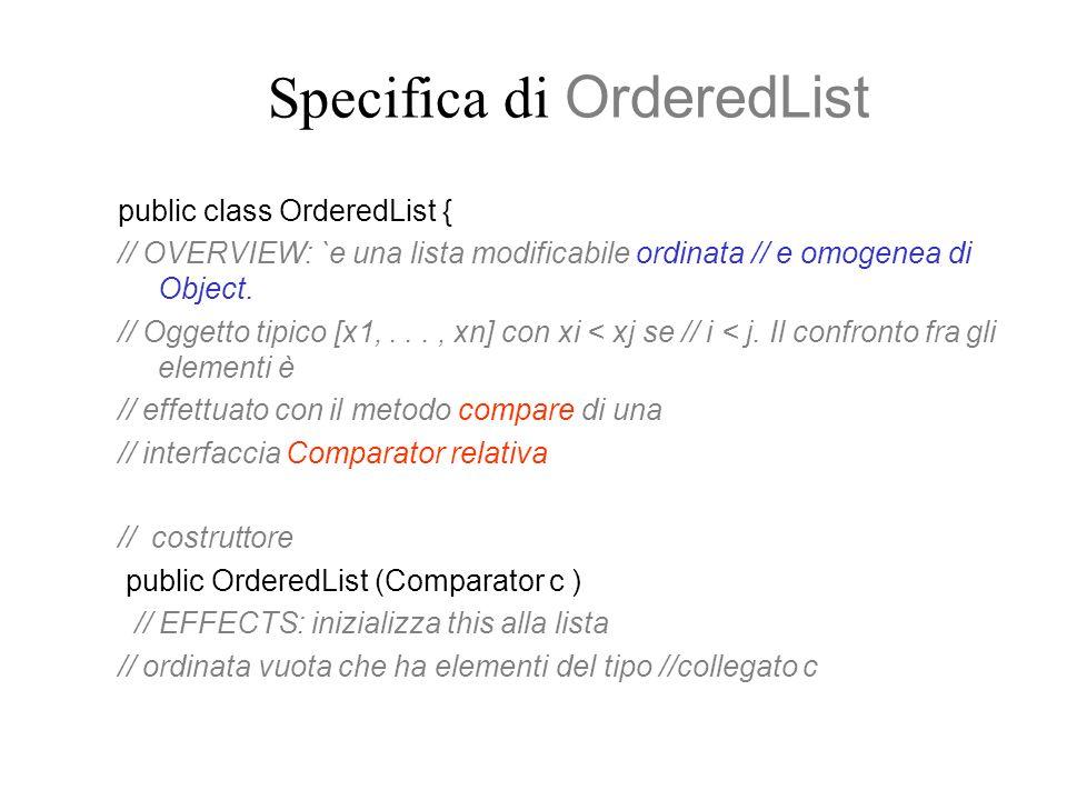 Specifica di OrderedList public class OrderedList { // OVERVIEW: `e una lista modificabile ordinata // e omogenea di Object. // Oggetto tipico [x1,...
