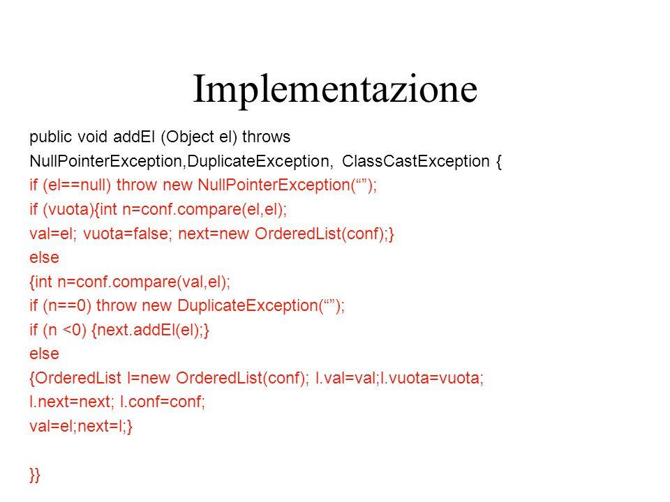 Implementazione public void addEl (Object el) throws NullPointerException,DuplicateException, ClassCastException { if (el==null) throw new NullPointerException(); if (vuota){int n=conf.compare(el,el); val=el; vuota=false; next=new OrderedList(conf);} else {int n=conf.compare(val,el); if (n==0) throw new DuplicateException(); if (n <0) {next.addEl(el);} else {OrderedList l=new OrderedList(conf); l.val=val;l.vuota=vuota; l.next=next; l.conf=conf; val=el;next=l;} }}