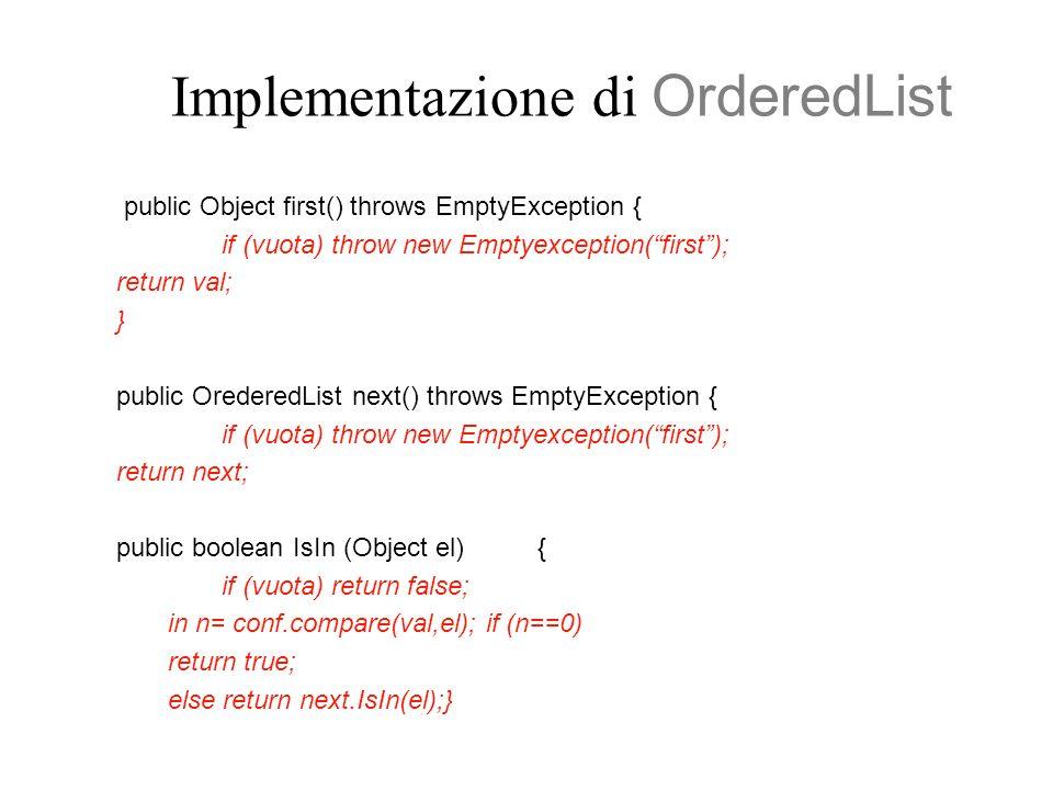 Implementazione di OrderedList public Object first() throws EmptyException { if (vuota) throw new Emptyexception(first); return val; } public OrederedList next() throws EmptyException { if (vuota) throw new Emptyexception(first); return next; public boolean IsIn (Object el) { if (vuota) return false; in n= conf.compare(val,el); if (n==0) return true; else return next.IsIn(el);}