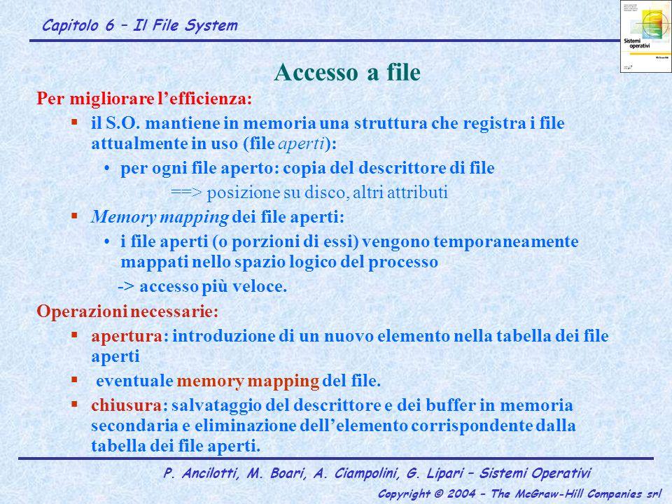 Capitolo 6 – Il File System P. Ancilotti, M. Boari, A. Ciampolini, G. Lipari – Sistemi Operativi Copyright © 2004 – The McGraw-Hill Companies srl Acce