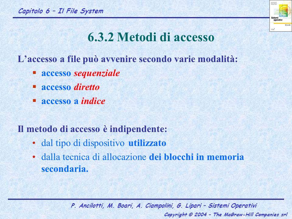 Capitolo 6 – Il File System P. Ancilotti, M. Boari, A. Ciampolini, G. Lipari – Sistemi Operativi Copyright © 2004 – The McGraw-Hill Companies srl 6.3.