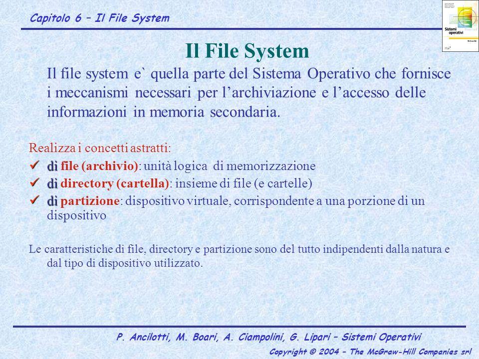 Capitolo 6 – Il File System P. Ancilotti, M. Boari, A. Ciampolini, G. Lipari – Sistemi Operativi Copyright © 2004 – The McGraw-Hill Companies srl Il F
