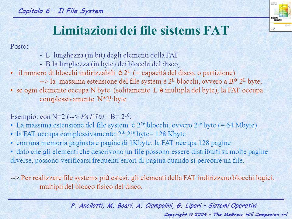 Capitolo 6 – Il File System P. Ancilotti, M. Boari, A. Ciampolini, G. Lipari – Sistemi Operativi Copyright © 2004 – The McGraw-Hill Companies srl Limi