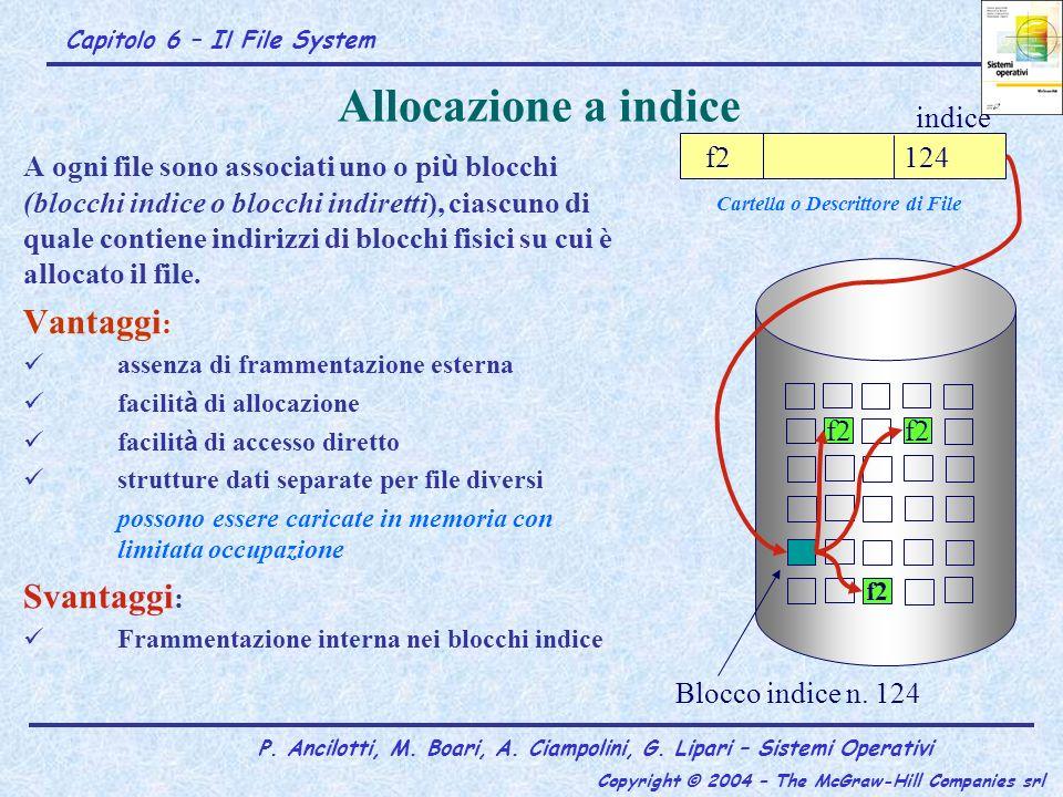 Capitolo 6 – Il File System P. Ancilotti, M. Boari, A. Ciampolini, G. Lipari – Sistemi Operativi Copyright © 2004 – The McGraw-Hill Companies srl Allo