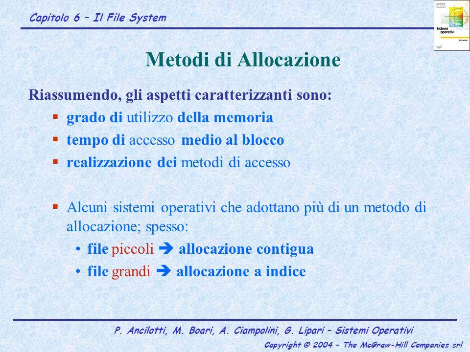 Capitolo 6 – Il File System P. Ancilotti, M. Boari, A. Ciampolini, G. Lipari – Sistemi Operativi Copyright © 2004 – The McGraw-Hill Companies srl Meto