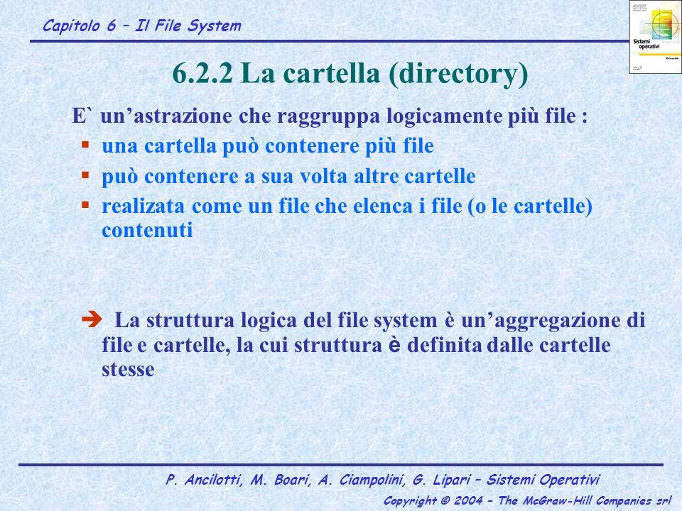 Capitolo 6 – Il File System P. Ancilotti, M. Boari, A. Ciampolini, G. Lipari – Sistemi Operativi Copyright © 2004 – The McGraw-Hill Companies srl 6.2.