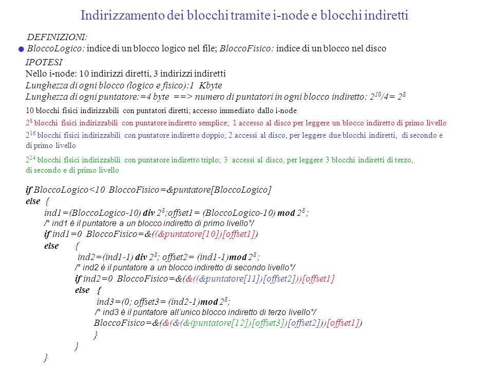 Indirizzamento dei blocchi tramite i-node e blocchi indiretti DEFINIZIONI: BloccoLogico: indice di un blocco logico nel file; BloccoFisico: indice di