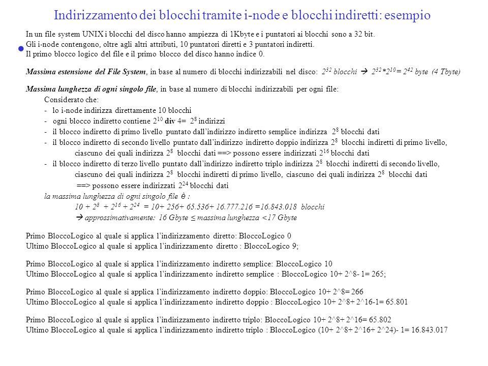 Indirizzamento dei blocchi tramite i-node e blocchi indiretti: esempio In un file system UNIX i blocchi del disco hanno ampiezza di 1Kbyte e i puntato