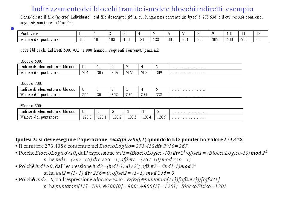 Indirizzamento dei blocchi tramite i-node e blocchi indiretti: esempio Ipotesi 2: si deve eseguire loperazione read(fd,&buf,1) quando lo I/O pointer h