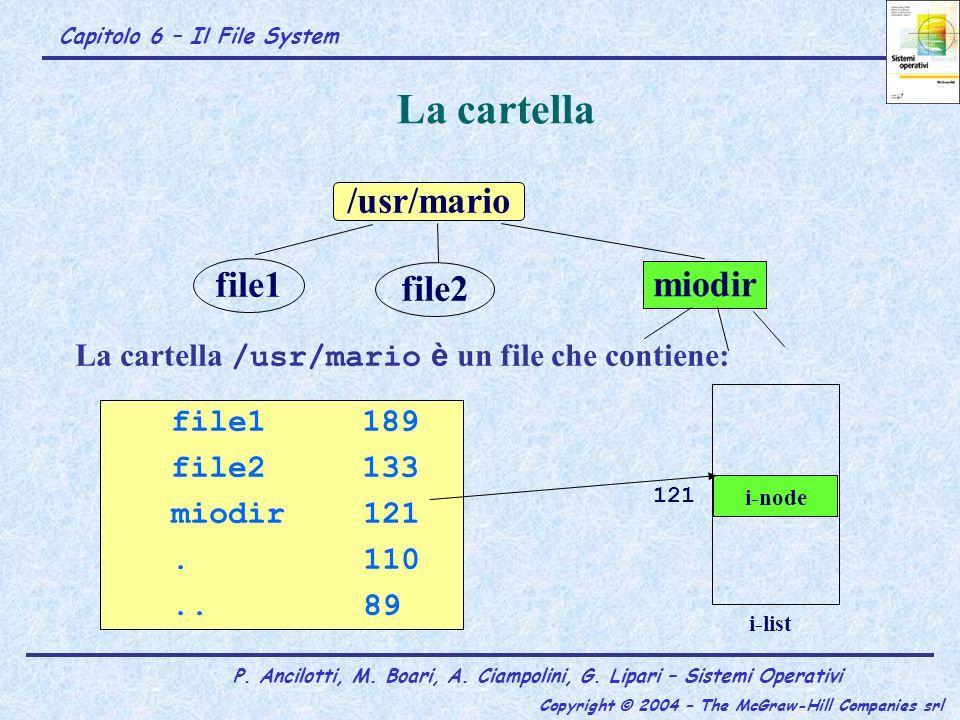 Capitolo 6 – Il File System P. Ancilotti, M. Boari, A. Ciampolini, G. Lipari – Sistemi Operativi Copyright © 2004 – The McGraw-Hill Companies srl La c
