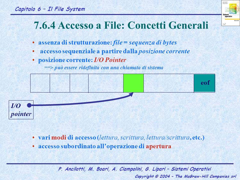 Capitolo 6 – Il File System P. Ancilotti, M. Boari, A. Ciampolini, G. Lipari – Sistemi Operativi Copyright © 2004 – The McGraw-Hill Companies srl 7.6.