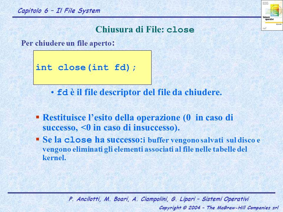 Capitolo 6 – Il File System P. Ancilotti, M. Boari, A. Ciampolini, G. Lipari – Sistemi Operativi Copyright © 2004 – The McGraw-Hill Companies srl Per