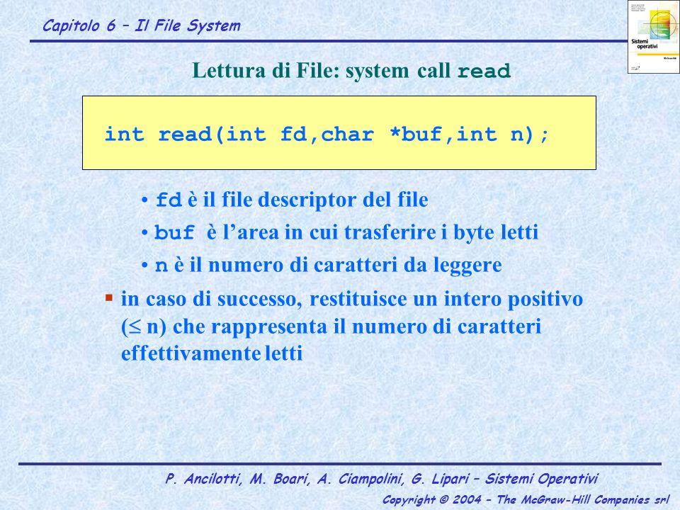 Capitolo 6 – Il File System P. Ancilotti, M. Boari, A. Ciampolini, G. Lipari – Sistemi Operativi Copyright © 2004 – The McGraw-Hill Companies srl Lett