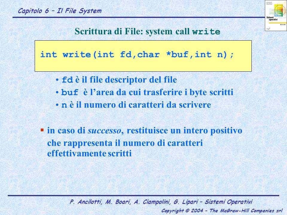 Capitolo 6 – Il File System P. Ancilotti, M. Boari, A. Ciampolini, G. Lipari – Sistemi Operativi Copyright © 2004 – The McGraw-Hill Companies srl Scri
