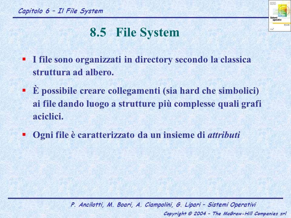 Capitolo 6 – Il File System P. Ancilotti, M. Boari, A. Ciampolini, G. Lipari – Sistemi Operativi Copyright © 2004 – The McGraw-Hill Companies srl 8.5