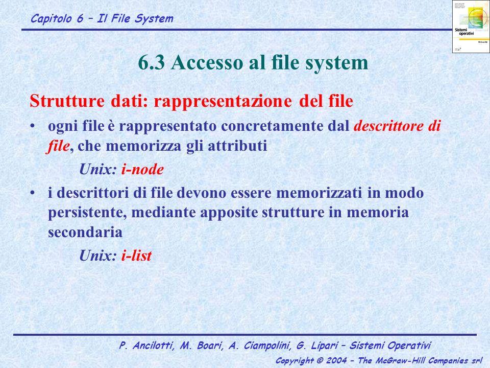 Capitolo 6 – Il File System P. Ancilotti, M. Boari, A. Ciampolini, G. Lipari – Sistemi Operativi Copyright © 2004 – The McGraw-Hill Companies srl 6.3