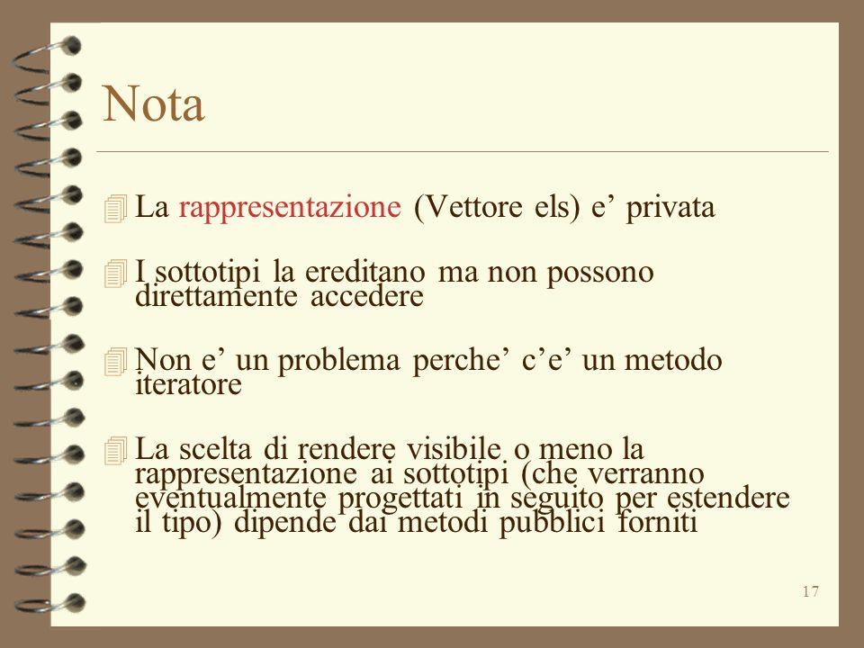 17 Nota 4 La rappresentazione (Vettore els) e privata 4 I sottotipi la ereditano ma non possono direttamente accedere 4 Non e un problema perche ce un