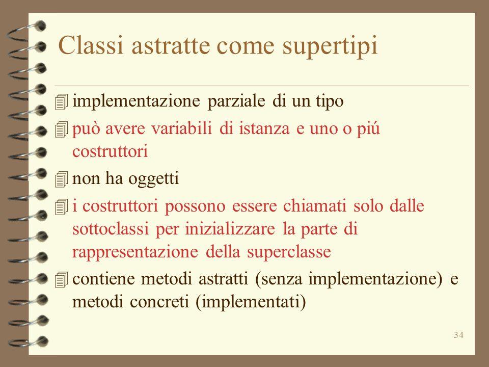 34 Classi astratte come supertipi 4 implementazione parziale di un tipo 4 può avere variabili di istanza e uno o piú costruttori 4 non ha oggetti 4 i