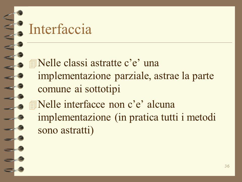 36 Interfaccia 4 Nelle classi astratte ce una implementazione parziale, astrae la parte comune ai sottotipi 4 Nelle interfacce non ce alcuna implement