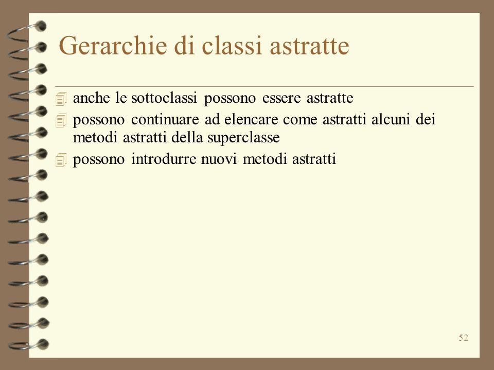 52 Gerarchie di classi astratte 4 anche le sottoclassi possono essere astratte 4 possono continuare ad elencare come astratti alcuni dei metodi astrat