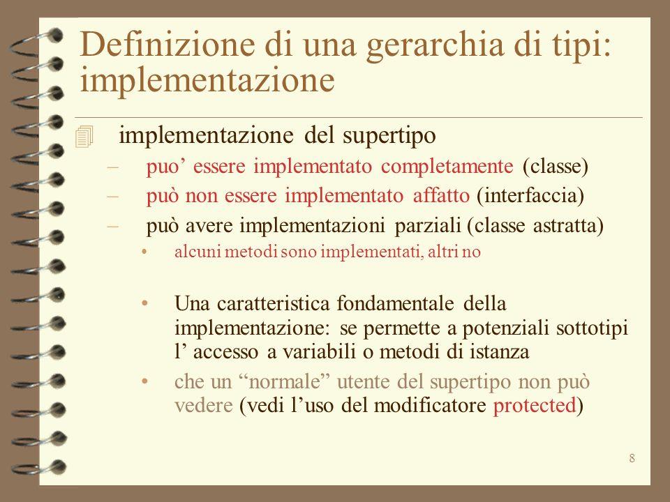 8 Definizione di una gerarchia di tipi: implementazione 4 implementazione del supertipo –puo essere implementato completamente (classe) –può non esser