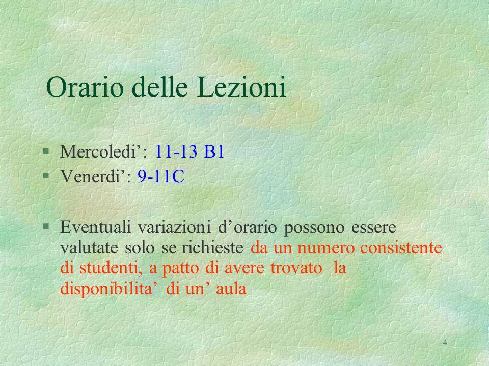 4 Orario delle Lezioni §Mercoledi: 11-13 B1 §Venerdi: 9-11C §Eventuali variazioni dorario possono essere valutate solo se richieste da un numero consi