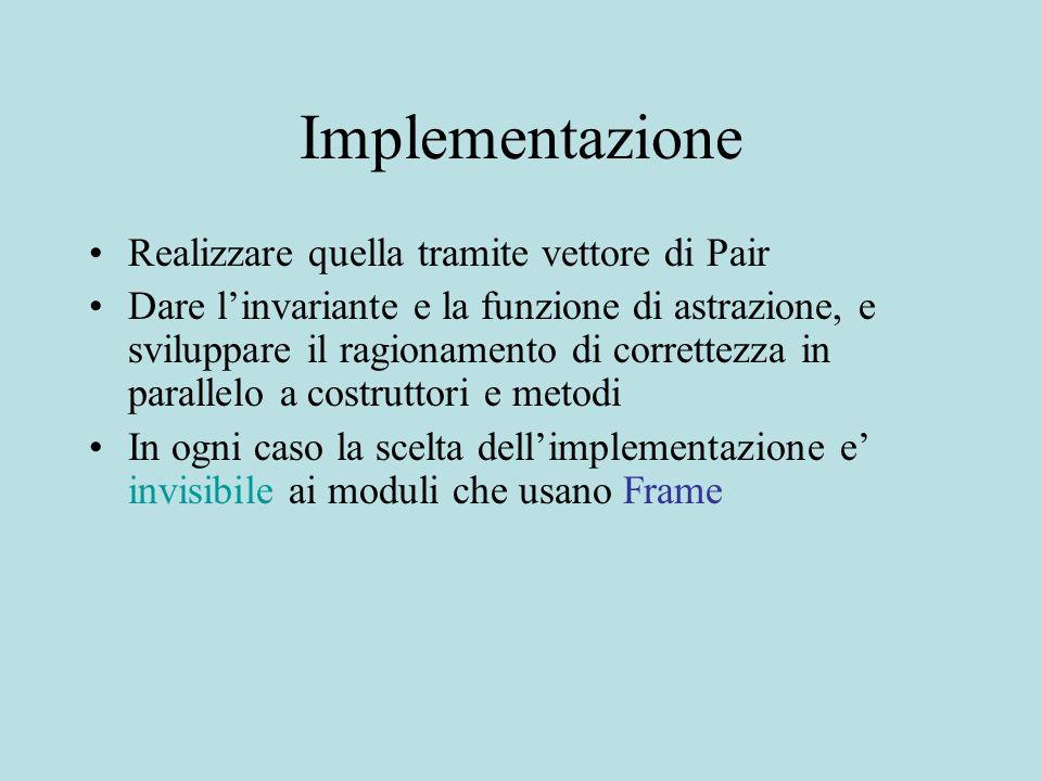 Implementazione Realizzare quella tramite vettore di Pair Dare linvariante e la funzione di astrazione, e sviluppare il ragionamento di correttezza in parallelo a costruttori e metodi In ogni caso la scelta dellimplementazione e invisibile ai moduli che usano Frame