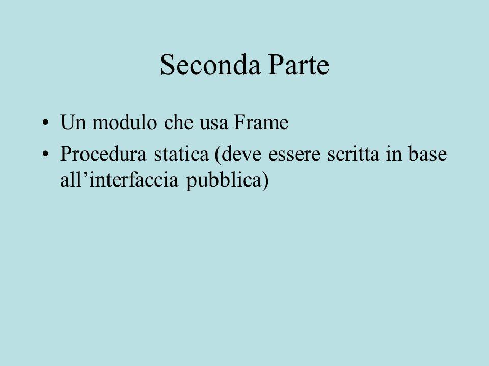 Seconda Parte Un modulo che usa Frame Procedura statica (deve essere scritta in base allinterfaccia pubblica)