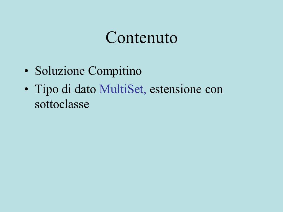 Contenuto Soluzione Compitino Tipo di dato MultiSet, estensione con sottoclasse