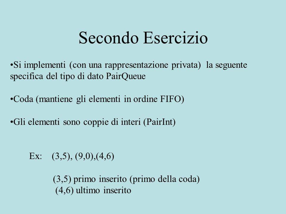 Secondo Esercizio Si implementi (con una rappresentazione privata) la seguente specifica del tipo di dato PairQueue Coda (mantiene gli elementi in ordine FIFO) Gli elementi sono coppie di interi (PairInt) Ex: (3,5), (9,0),(4,6) (3,5) primo inserito (primo della coda) (4,6) ultimo inserito