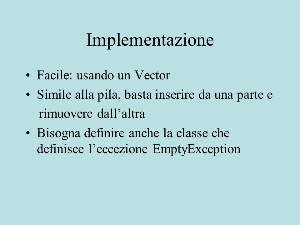 Implementazione Facile: usando un Vector Simile alla pila, basta inserire da una parte e rimuovere dallaltra Bisogna definire anche la classe che definisce leccezione EmptyException