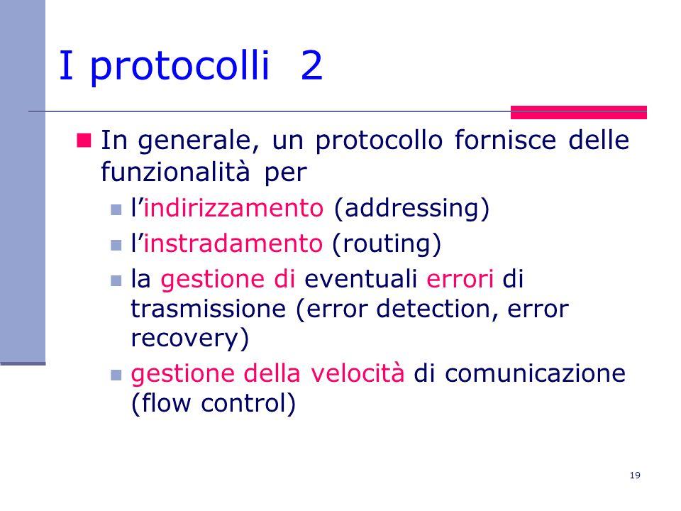 19 In generale, un protocollo fornisce delle funzionalità per lindirizzamento (addressing) linstradamento (routing) la gestione di eventuali errori di