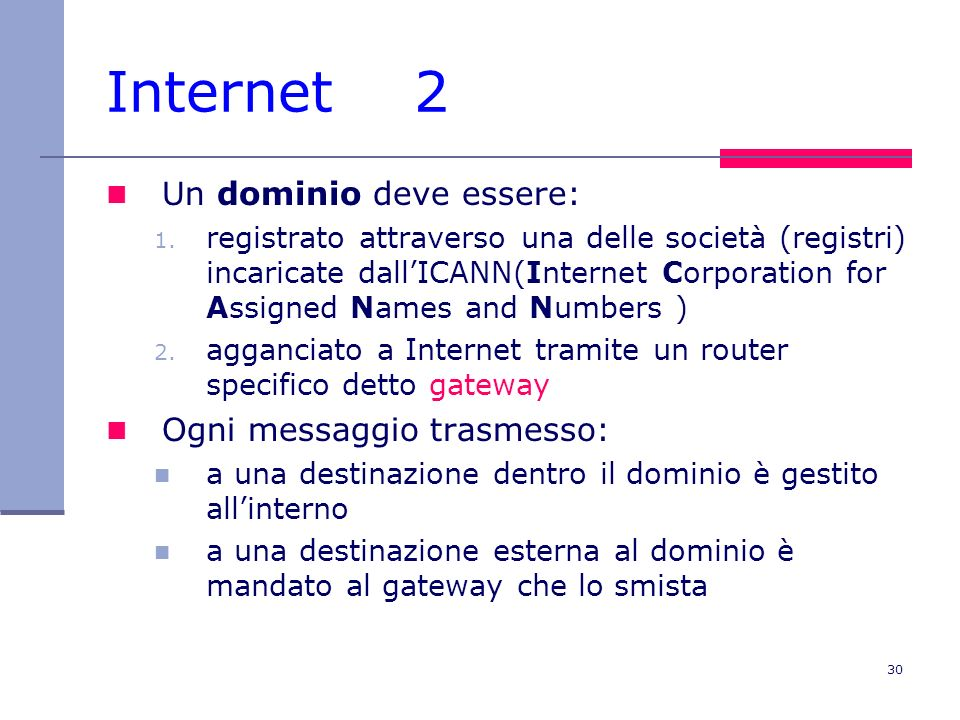 30 Internet 2 Un dominio deve essere: 1. registrato attraverso una delle società (registri) incaricate dallICANN(Internet Corporation for Assigned Nam