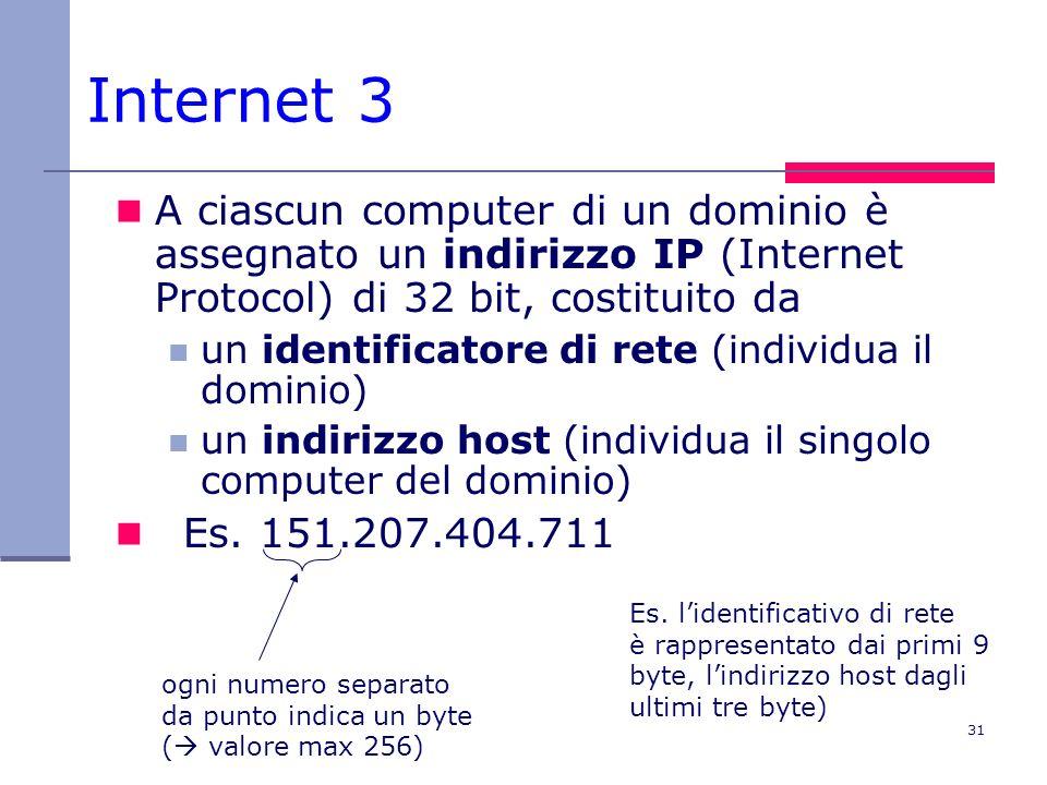 31 Internet 3 A ciascun computer di un dominio è assegnato un indirizzo IP (Internet Protocol) di 32 bit, costituito da un identificatore di rete (ind