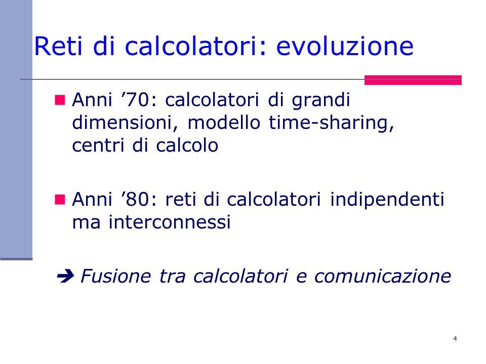 4 Reti di calcolatori: evoluzione Anni 70: calcolatori di grandi dimensioni, modello time-sharing, centri di calcolo Anni 80: reti di calcolatori indi