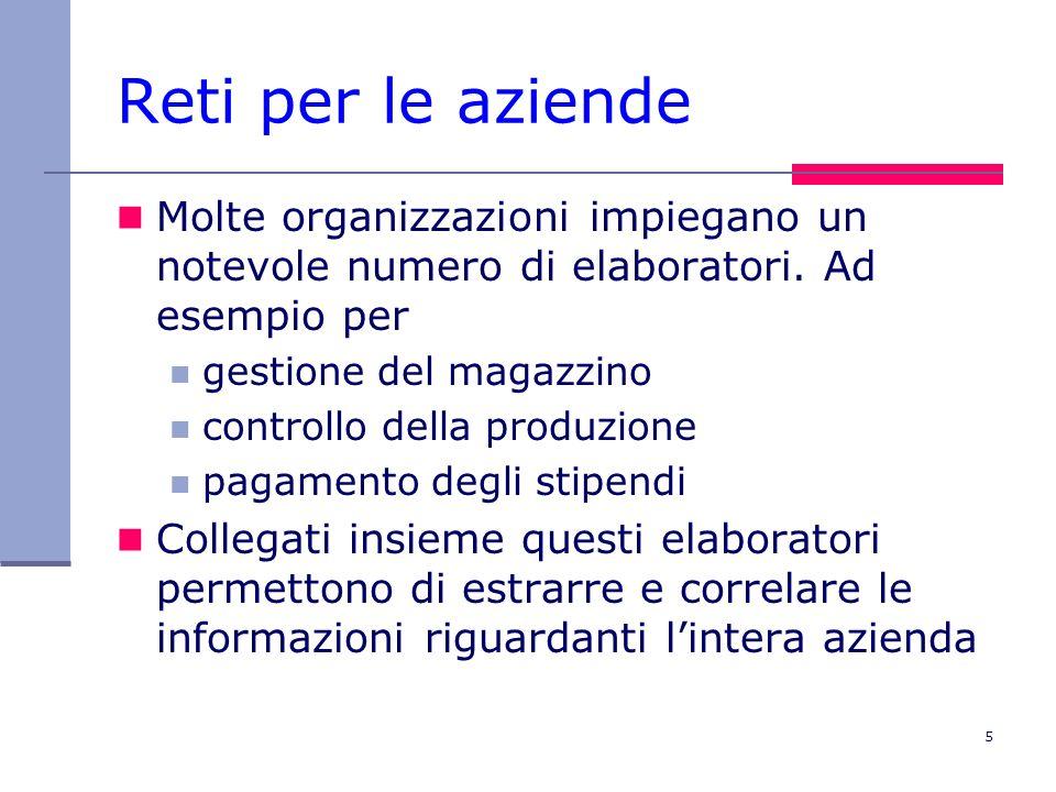 6 Reti per le persone A partire dagli anni 90 le reti hanno cominciato a fornire servizi agli individui accesso a informazioni (www, e- commerce, etc.) comunicazione uomo-a-uomo (e-mail, chat, VoIP etc.) intrattenimento interattivo (giochi in rete, etc.)