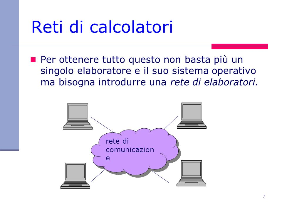 7 Reti di calcolatori Per ottenere tutto questo non basta più un singolo elaboratore e il suo sistema operativo ma bisogna introdurre una rete di elab