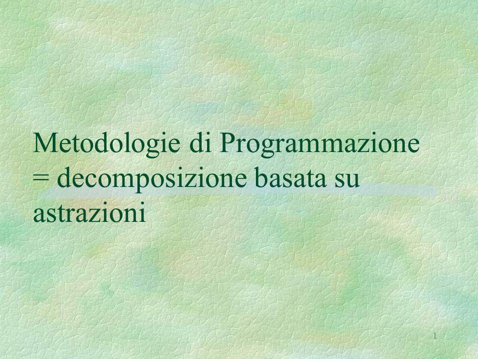 1 Metodologie di Programmazione = decomposizione basata su astrazioni
