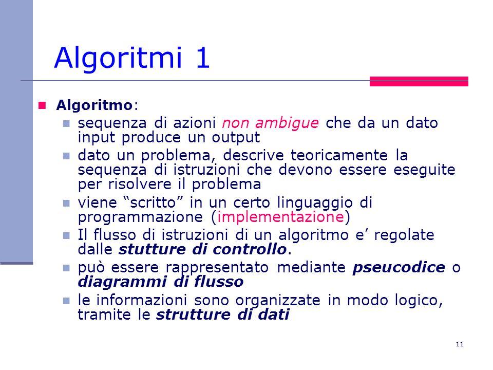 11 Algoritmi 1 Algoritmo: sequenza di azioni non ambigue che da un dato input produce un output dato un problema, descrive teoricamente la sequenza di istruzioni che devono essere eseguite per risolvere il problema viene scritto in un certo linguaggio di programmazione (implementazione) Il flusso di istruzioni di un algoritmo e regolate dalle stutture di controllo.