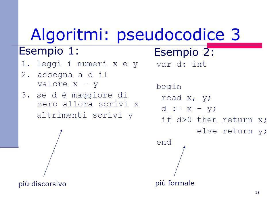 15 Algoritmi: pseudocodice 3 Esempio 2: var d: int begin read x, y; d := x – y; if d>0 then return x; else return y; end Esempio 1: 1.