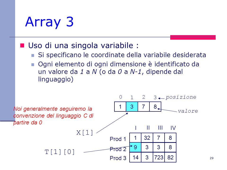 29 Array 3 Uso di una singola variabile : Si specificano le coordinate della variabile desiderata Ogni elemento di ogni dimensione è identificato da un valore da 1 a N (o da 0 a N-1, dipende dal linguaggio) 1378 13278 9338 14372382 Prod 1 Prod 2 Prod 3 I IIIII IV X[1] T[1][0] Noi generalmente seguiremo la convenzione del linguaggio C di partire da 0 0 1 2 3 posizione valore