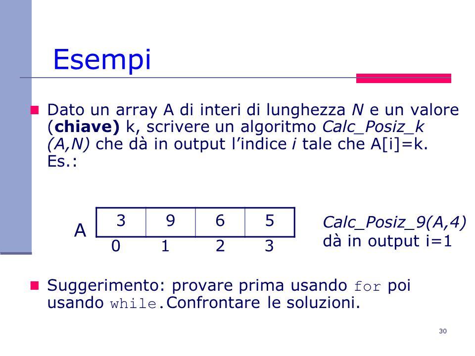30 Esempi Dato un array A di interi di lunghezza N e un valore (chiave) k, scrivere un algoritmo Calc_Posiz_k (A,N) che dà in output lindice i tale che A[i]=k.