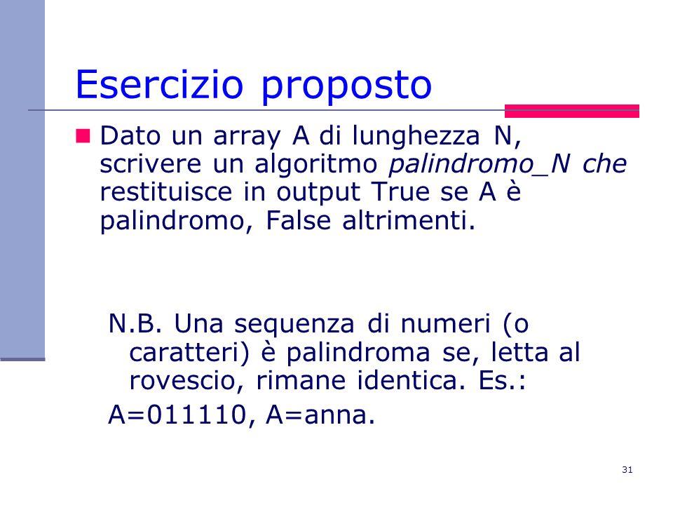 31 Esercizio proposto Dato un array A di lunghezza N, scrivere un algoritmo palindromo_N che restituisce in output True se A è palindromo, False altrimenti.