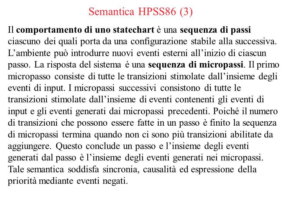 Semantica HPSS86 (3) Il comportamento di uno statechart è una sequenza di passi ciascuno dei quali porta da una configurazione stabile alla successiva.