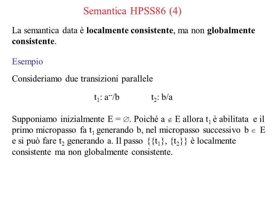 Semantica HPSS86 (4) La semantica data è localmente consistente, ma non globalmente consistente.