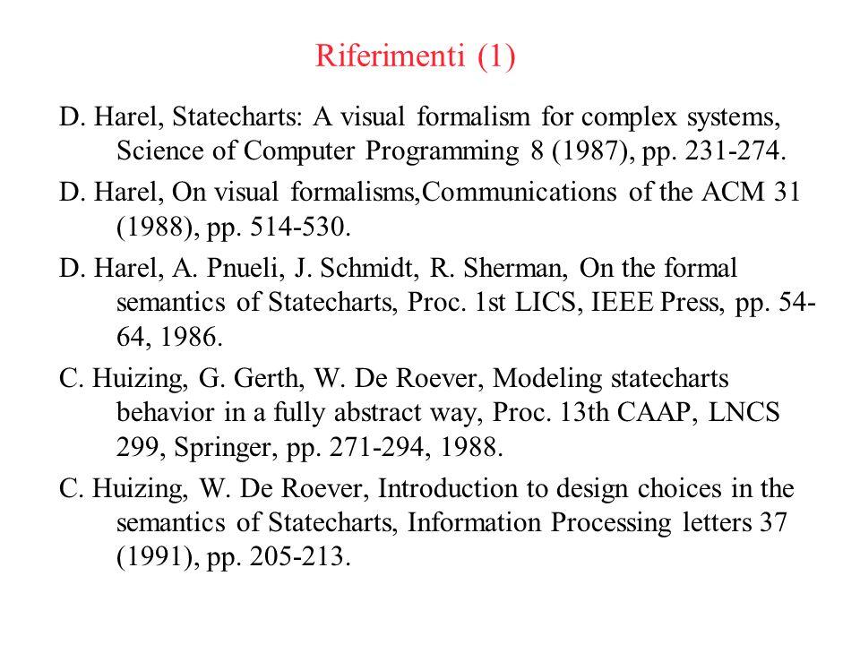Semantica HPSS86 (1) Consideriamo un sottoinsieme ristretto di Statecharts.