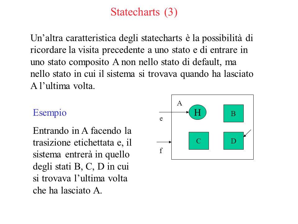 Statecharts (3) Unaltra caratteristica degli statecharts è la possibilità di ricordare la visita precedente a uno stato e di entrare in uno stato composito A non nello stato di default, ma nello stato in cui il sistema si trovava quando ha lasciato A lultima volta.