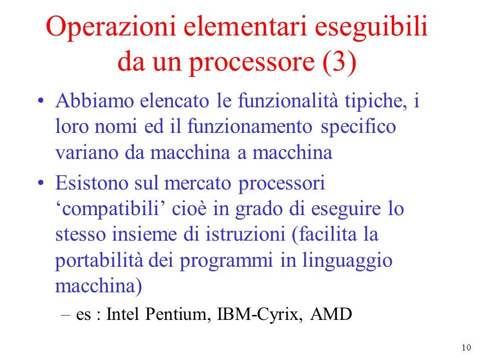 10 Operazioni elementari eseguibili da un processore (3) Abbiamo elencato le funzionalità tipiche, i loro nomi ed il funzionamento specifico variano da macchina a macchina Esistono sul mercato processori compatibili cioè in grado di eseguire lo stesso insieme di istruzioni (facilita la portabilità dei programmi in linguaggio macchina) –es : Intel Pentium, IBM-Cyrix, AMD