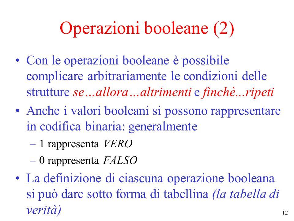 12 Operazioni booleane (2) Con le operazioni booleane è possibile complicare arbitrariamente le condizioni delle strutture se…allora…altrimenti e finchè...ripeti Anche i valori booleani si possono rappresentare in codifica binaria: generalmente –1 rappresenta VERO –0 rappresenta FALSO La definizione di ciascuna operazione booleana si può dare sotto forma di tabellina (la tabella di verità)